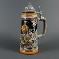 Antique Gibt Allen Schwung GERZ West German Beer Stein w/ Pewter Lid