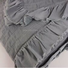 INUP made in PORTUGAL Ruffled KING COVERLET Matelasse DARK GRAY GREY cotton NEW