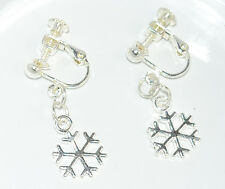 CLIP ON Earrings Snowflake Screw back for comfort NL19 Fast UK Delivery