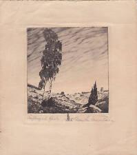 Max Josef Fliegerbauer - Originale Radierung Frühling in der Haide Druck Kunst
