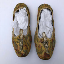 Antique 40s-50s gold floral flat silk brocade slippers 6-6.5M-charming!