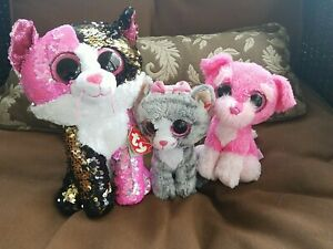 Ty Flippables Cat Malibu And TySilk Cat Kiki And Dog Cherry