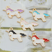 12PCS Enamel Plated 21x14mm Assorted Unicorn Pendant Charms Jewelry DIY Findings