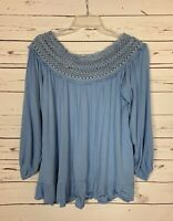 Umgee USA Boutique Women's S Small Blue Lace Cute Spring Top Blouse Shirt