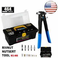 464PC Heavy Duty Blind Rivet Nut Rivnut Nutsert Insert Tool Rivnuts Set Kit M3-8