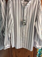 100% Indian Striped Cheesecloth Seersucker Cotton Grandad Shirt 3 Xl