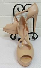 """SHOES Size 9M ENZO ANGIOLINI """"ABALINA"""" Light Natural Leather Heels Open Toe (poi"""