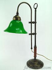 Lampada ottone brunito da tavolo,lampade ministeriali ufficio,vetro verde slg3