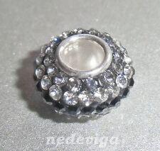 925 Sterling Silber Bead Charm Anhänger Glitzer Strass tricolor grau klar + Etui