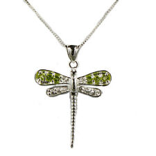 "Sterling Silver Dragonfly Pendant on 18"" Box Chain."