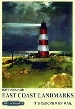 Happisburgh near Stalham East Coast  Landmarks  Train Rail Travel  Poster Print