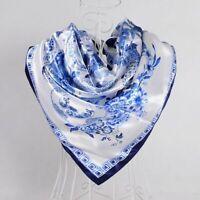 Women Scarf Elegant Shawl Head Square Wrap Neck Tie Band Satin Neckerchief Gift