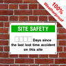 Days since last accident Health and safety signs CONS010 Durable & weatherproof