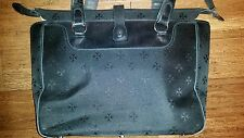 Moonsus Laptop Tote Travel Bag Black Canvas Leather