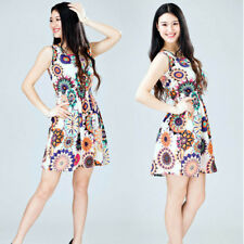 Boho Womens V Neck Holiday Dress Summer Beach Button Pocket Midi Swing Sundress