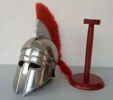 Greek Corinthian Helmet Red Plume Armor Medieval Knight Spartan+ Wood Base ra180
