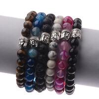 8MM Fashion Men's Sliver Buddha Head with Obsidian Beaded Stretch Bracelet