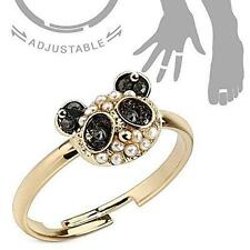 Adjustable Brass Mid-Ring/Toe Ring [Jewelry] Panda with Black Cz and Pearls