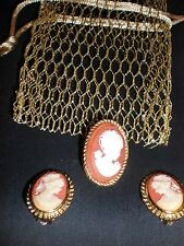 Vintage Gold Tone Cameo Brooch Pin Pendant & CAMEO CLIP ON EARRINGS CUTE
