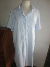 NEW SEERSUCKER VERMONT COUNTRY BLUE STRIPED COTTON GOWN HOUSECOAT WOMENS 1X