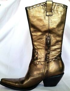 BCBG Girls Metallic Bronze Metallic Leather Cowboy Western Womans Boots  7B/37