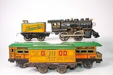 VINTAGE AMERICAN FLYER CLOCKWORK STEAM CAST IRON #13 LOCO W/TENDER AND CARS