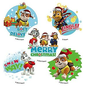 25 Paw Patrol Dogs Holiday Christmas Stickers Party Favors Jake Chase Skye Ryder