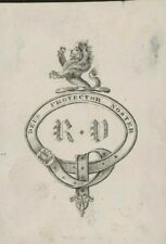 """""""Deus Protector Noster""""  Initials only """"R.V""""  Lion over belted design    D4/1365"""