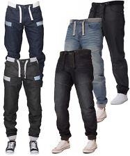 Enzo New Men's Cuffed Denim Jeans Regular Fit Joggers