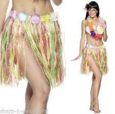 Ladies Multi Hawaiian Hula Girl Floral Short Grass Skirt Fancy Dress Costume
