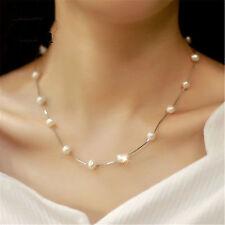 Fashion Women Wedding White Pearl Silver Chian Choker Charm Jewelry Bib Necklace