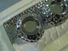 4 pcs plateau  bougeoirs céramique argenté ,décoration noël,centre de table
