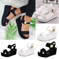 New Women's Casual Ankle Strap Comfortable Wedge Platform Sandals Outdoor Travel