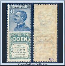1924 Italia Regno Pubblicitari Coen c. 25 azzurro e verde n. 5 Nuovo Integro **