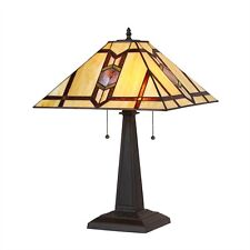 """Tiffany Style Arts & Crafts Stained Glass Table Desk Lamp 16"""" Shade 22.5"""" Tall"""