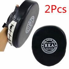 2 Black Leather Focus Pads Hook Jab MMA Boxing Kick Curved Mitt Glove Thai Muay