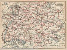 Antique Print of Map 1929 Autobahn roads highway South Germany Fahrweg karte