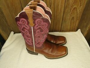 Ariat ATS Women's Boots 10004719 14011 Brown/Purple/Pink Cowgirl Size 8.5 B