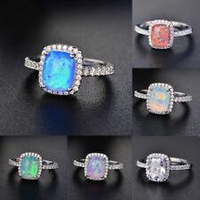 6699f33b7 Princess Cut White/Blue Fire Opal CZ Wedding Rings White Gold Jewelry Size  5-