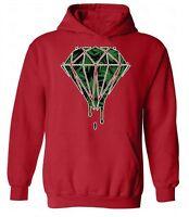 Weed Diamonds Dripping HOODIE Sweatshirt Sweater Hooded Marijuana Melting Kush