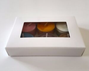 1-25 White Tea Light Candle Gift Packaging Box with Clear Window for 6 or 10