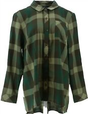 Isaac Mizrahi TRUE DENIM Plaid Button Up Shirt Long Sleeve Green 12 NEW A367580