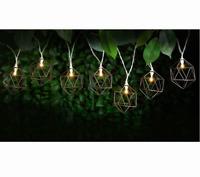 10pk Metal Caged Solar String Lights Warm White LED Garden Decor