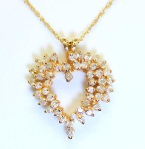 Estate 14K Gold Ladies Estate 1 Ct RB Diamond Heart Pendant w/ 14K Necklace