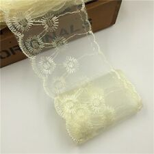 3 3/8 inch wide ivory lace mesh embroidery selling by the yard