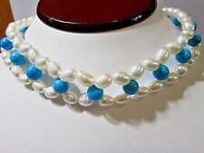 HANDCRAFTED FLOWER DESIGN FAUX PEARL TURQUOISE COLOR BEADS NECKLACE CHOKER
