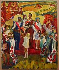 Russian Ukrainian Soviet Oil Painting realism collective farmer harvest home