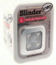 KNOG BLINDER 4 SQUARE Bike Tail Light Rear Silver 44 Lumens 4 RED LED USB NEW