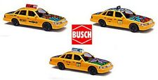 Busch SET03 3er Set 49030 + 49031 + 49032 Ford Crown Taxi H0 1:87 NEU & OVP