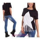 Maglia donna maglietta t-shirt maniche corte stella frange sexy nuova CJ-2113